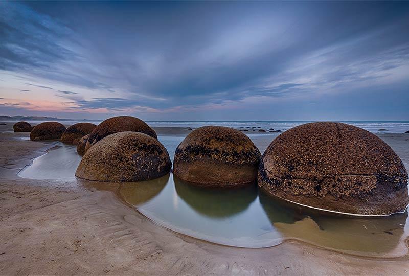 Die Moeraki Boulders, Neuseeland