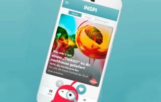 Mobiltelefon mit INSPI App am Display