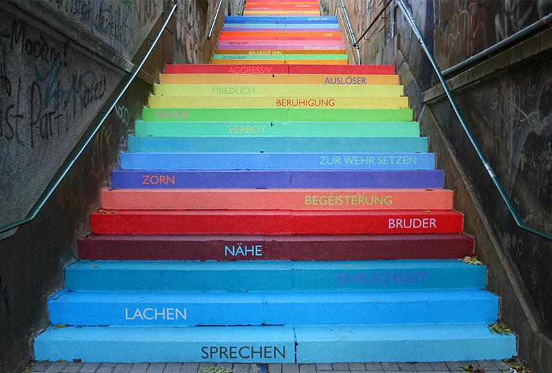 Bunte Holsteiner Treppe in Wuppertal
