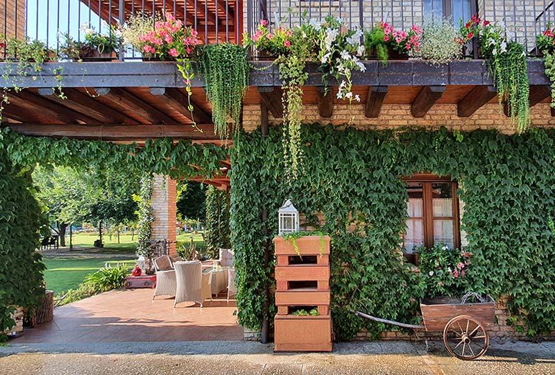 Efeubewachsenes Haus mit vielen Blumen